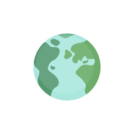 Planet Earth illustration graphic icon. Blue and green world, globe drawing. Isolated.