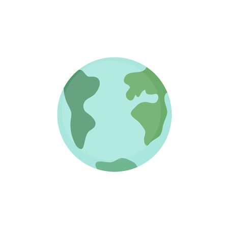 Planet Earth illustration graphic icon. Blue and green planet drawing. Isolated.
