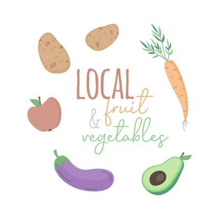 Local fruit and vegetables vector illustration. Hand drawn carrot, potatoes, apple, eggplant and avocado with writing. Isolated.