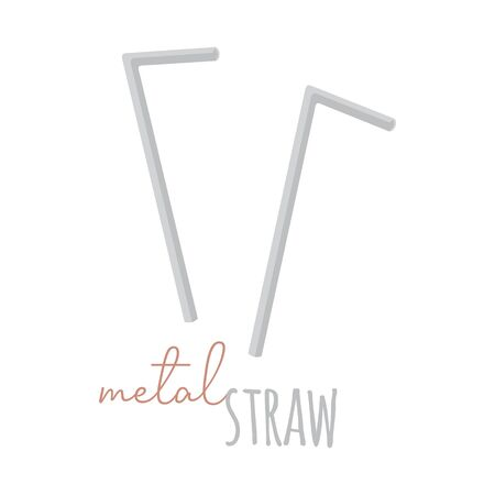 Metal straw vector illustration graphic. Hand drawn zero waste, environment friendly metal straws with writing. Isolated.