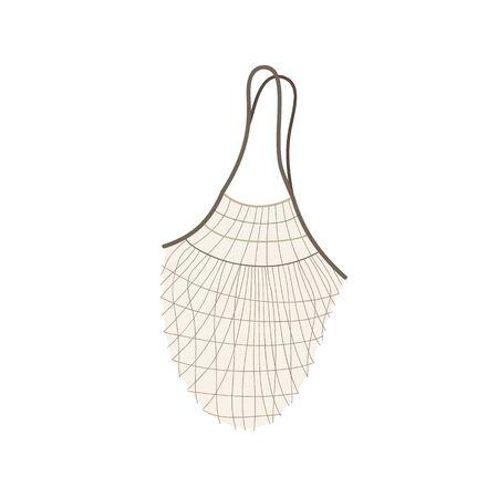 String shopping bag vector illustration. Hand drawn zero waste, textile net bag. Isolated Çizim