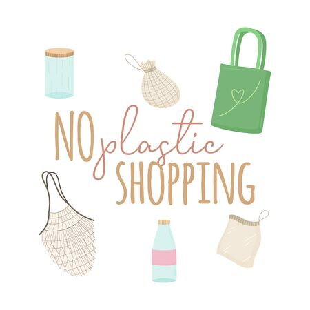 No plastic shopping vector illustration. Hand drawn textile bags and glass containers with writing. Isolated