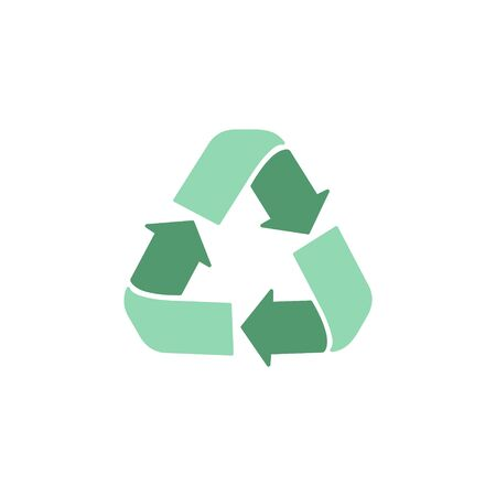 Recycle vector illustration graphic icon. Green, zero waste, environment friendly logo. Isolated. Çizim