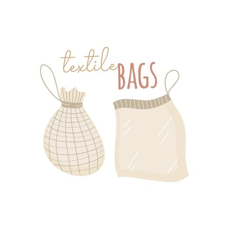 Textile shopping bags vector illustration. Hand drawn zero waste, textile bags with writing. Isolated Çizim