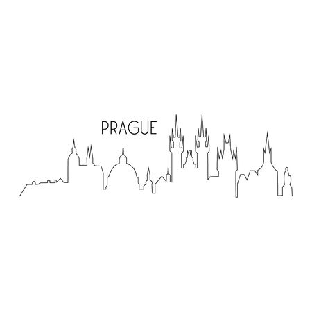 Prague one line vector landmark silhouette illustration. Capital city of Czech Republic, Prague black thin skyline with writing. Isolated.