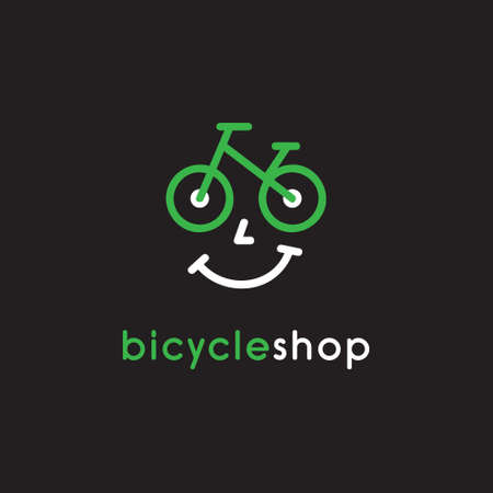 Bicycle shop vector illustration icon. Bike rental, service or store logo with smiley face. Isolated.