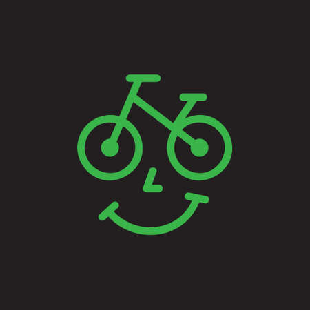 Bicycle shop vector illustration icon. Bike rental, service or store logo with face and smile. Isolated. Ilustração
