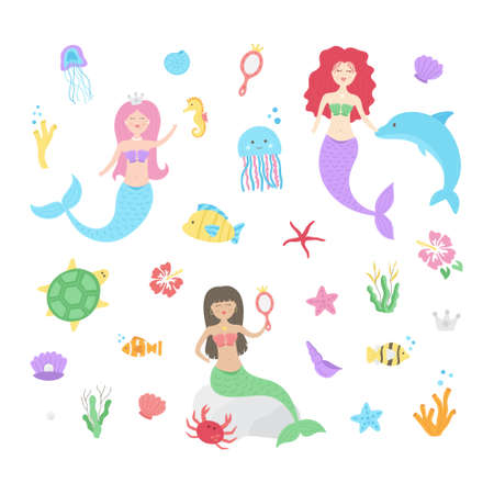 Cute mermaid underwater vector illustration set. Mermaid girls, princesses, ocean animals and plants collection. Isolated.