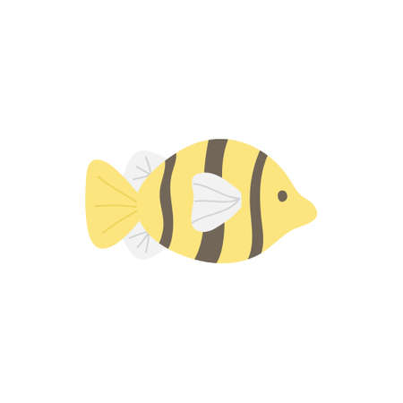 Fish cute vector illustration. Hand drawn ocean, marine, sea yellow, white and black striped fish animal. Isolated.
