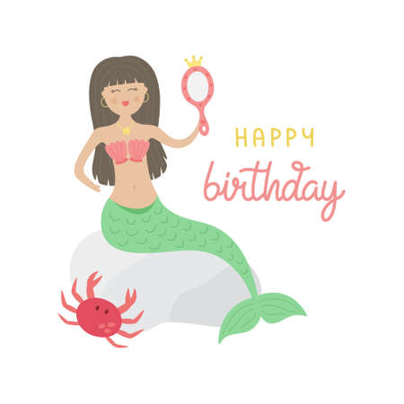 Cute mermaid vector illustration, birthday greeting card. Brown hair mermaid girl, princess with green tail and red shell bra sitting on rock with cute crab. Isolated. Ilustração