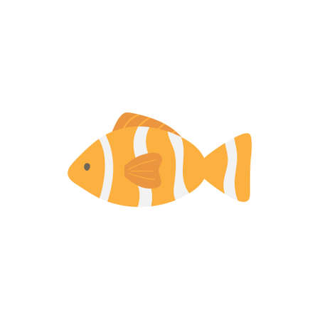 Clownfish cute vector illustration. Hand drawn ocean, marine, sea orange and white striped fish animal. Isolated. Çizim