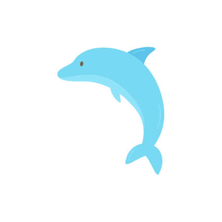 Cute blue dolphin icon, marine animal, mammal. Vector illustration doodle drawing, isolated. Çizim