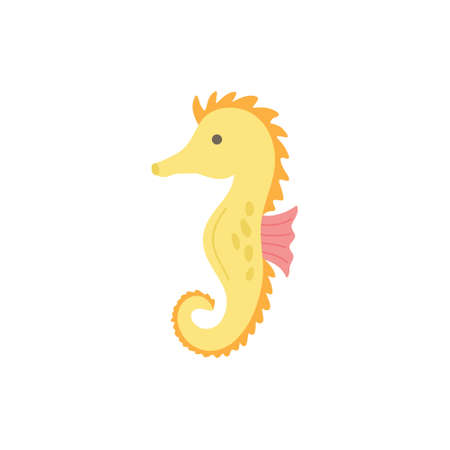 Seahorse cute vector illustration. Hand drawn ocean, marine, sea yellow and pink seahorse animal. Isolated. Çizim