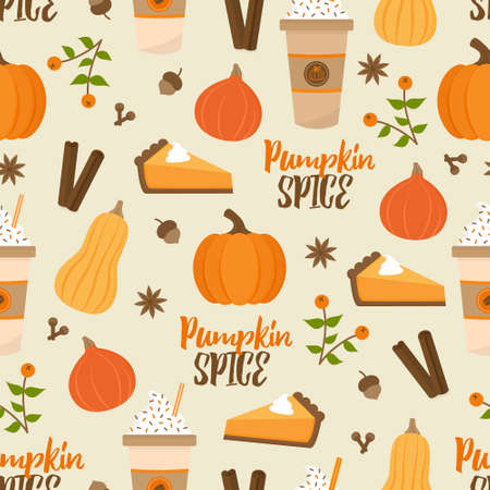 Pumpkin spice season vector hand drawn seamless pattern. Cute orange pumpkin, cup of coffee, pumpkin pie, spices, leaves and writing. Autumn, fall seasonal background. Isolated.