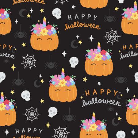 Happy halloween pumpkin vector hand drawn seamless pattern. Cute orange unicorn pumpkin with flower headband, writing, skull and spider background. Isolated.