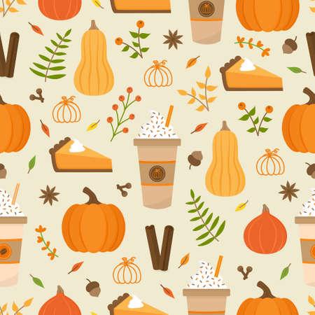 Pumpkin spice season vector hand drawn seamless pattern. Cute orange pumpkin, cup of coffee, pumpkin pie, spices and leaves. Autumn, fall seasonal background. Isolated. 向量圖像