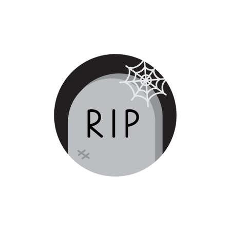 Gravestone round vector illustration icon. Scary, spooky halloween, dark circle night tombstone. Isolated.
