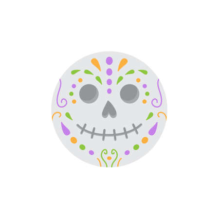 Cute sugar skull round vector illustration icon. Scary, spooky halloween circle character. Isolated. 向量圖像
