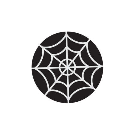 Spider web round vector illustration icon. Scary, spooky halloween circle object. Isolated. 向量圖像