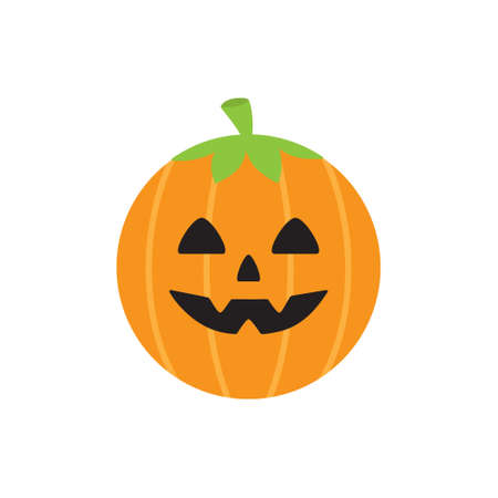 Cute pumpkin round vector illustration icon. Scary, spooky halloween circle character head. Isolated.