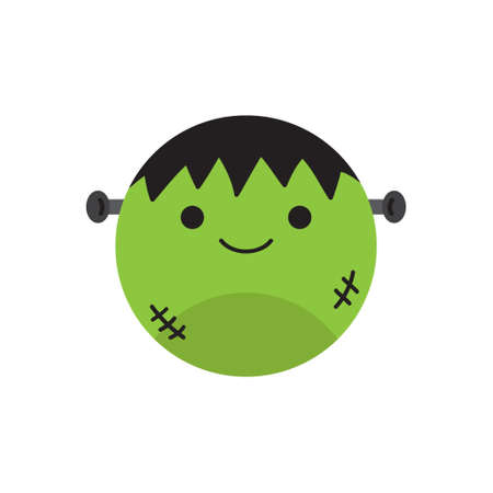 Cute green monster round vector illustration icon. Scary, spooky halloween circle character, head of zombie. Isolated. 向量圖像