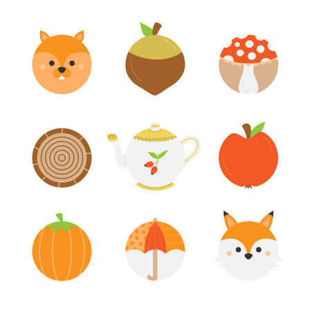 Cute autumn round vector character icons. Fall, seasonal food, objects and animals. Isolated.