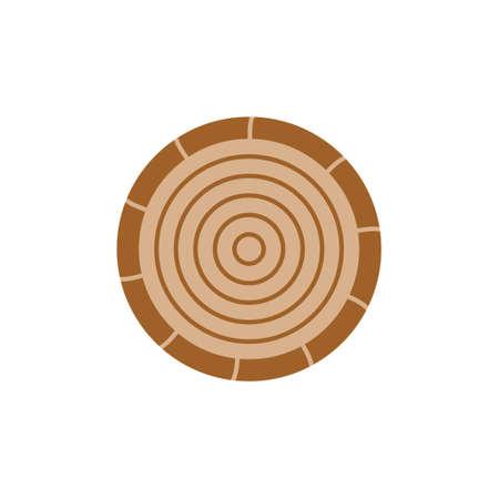 Wood round vector icon. Autumn, fall log circle illustration. Isolated. 向量圖像