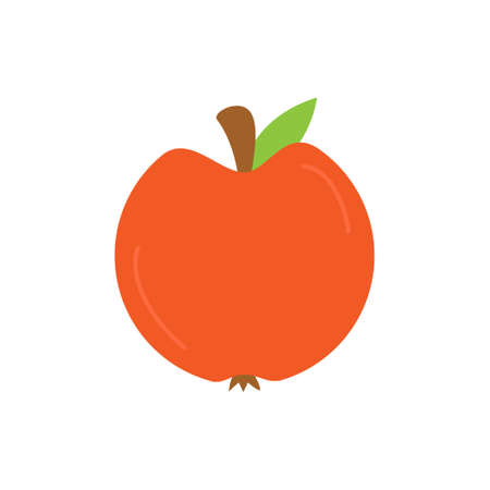 Apple round vector icon. Autumn, fall red apple circle fruit illustration. Isolated.