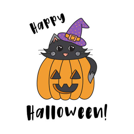 Happy Halloween cute cat in pumpkin vector illustration greeting card. Graphic outlined drawing of black cat with witch hat inside carved pumpkin, with text. Isolated.