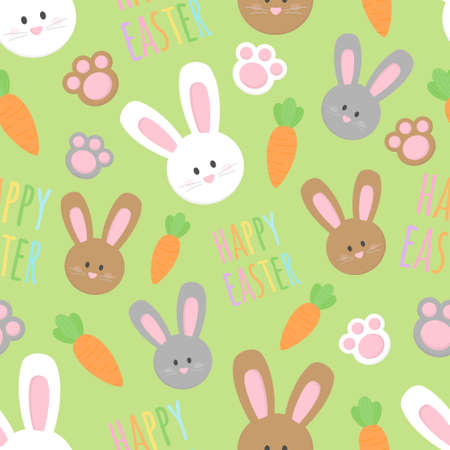 Cute Easter bunny vector seamless pattern. White, brown and gray easter bunnies, paws, carrots and writing happy easter illustrations. Isolated. 向量圖像