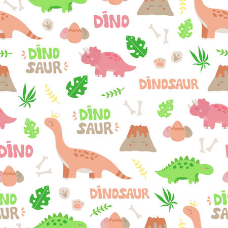 Cute dinosaur vector seamless pattern. Child dino illustrations of prehistoric animals, plants and objects. Isolated.