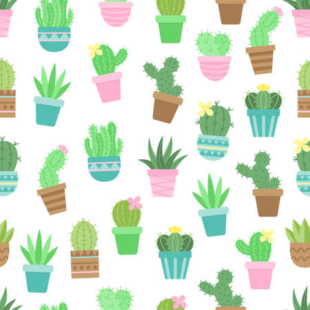 Cute cactus vector seamless pattern. Different colorful succulents in pots. Isolated.