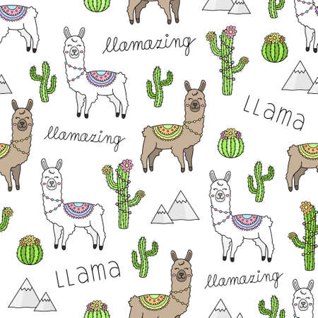 Cute llama vector illustration seamless pattern. White and brown llama animal and cactus plants. isolated.