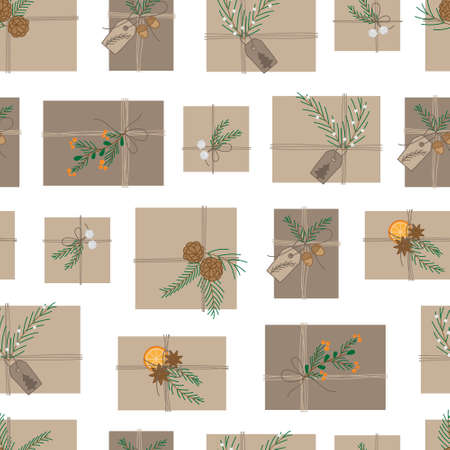 Natural wrapped gifts vector seamless pattern. Christmas presents in brown wrapping paper and natural decorations. Isolated. 向量圖像