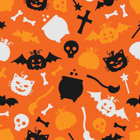 Cute halloween vector seamless pattern. Spooky, scary halloween object illustrations. Magic wand pot broom cross pumpkin bat skull and bones. Isolated. 向量圖像