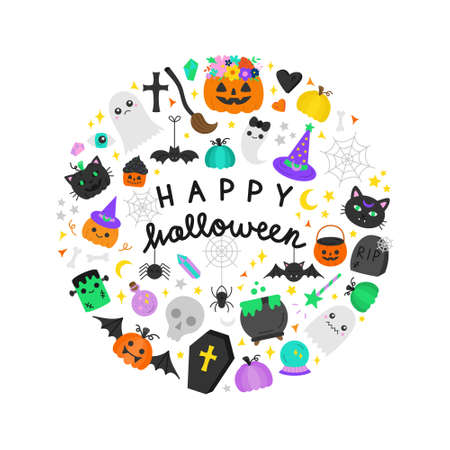 Happy Halloween round vector illustration graphic. Halloween hand writing and hand drawn spooky, scary objects in circle around. Isolated greeting card. 向量圖像