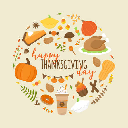 Happy Thanksgiving day vector round illustration graphic. Autumn thanksgiving greeting card design. Food and plant icons in circle around writing. Isolated on beige background.