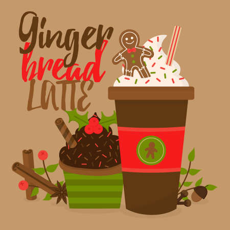 Gingerbread latte vector graphic illustration. Seasonal, autumn, christmas coffee in cup decorated with whipped cream, sprinkles, gingerbread man cookie and chocolate cupcake aside. Isolated.