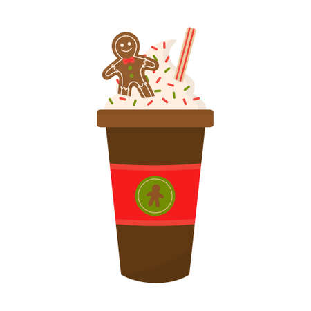 Gingerbread latte vector graphic illustration. Seasonal, autumn, christmas coffee in cup decorated with whipped cream, sprinkles, gingerbread man cookie. Isolated.