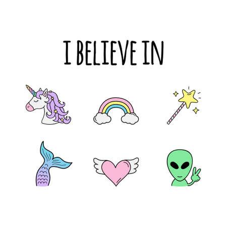 I believe in vector illustration design. Hand drawn icons of unicorn, rainbow, magic, mermaid, love and alien. Cute trendy positive creatures and abstract objects. Isolated.