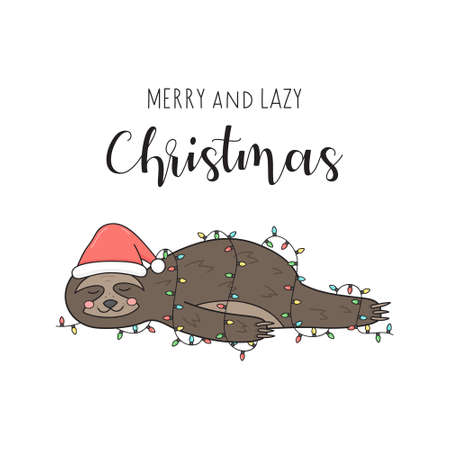 Merry and lazy Christmas sloth vector illustration. Cute hand drawn sloth with santa hat lying wrapped in xmas lights. Isolated cartoon greeting card.