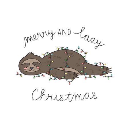 Merry and lazy Christmas sloth vector illustration. Cute hand drawn sloth lying wrapped in xmas lights with handwriting. Isolated cartoon greeting card.