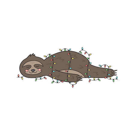 Christmas sloth vector illustration. Cute hand drawn sloth lying wrapped in xmas lights. Isolated cartoon drawing.