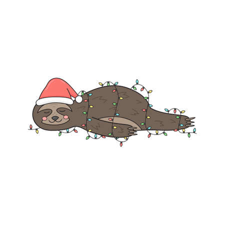 Christmas sloth vector illustration. Cute hand drawn sloth with santa hat lying wrapped in xmas lights. Isolated cartoon drawing.