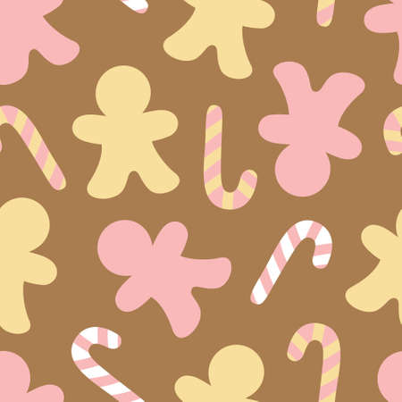Gingerbread and candy cane vector seamless pattern