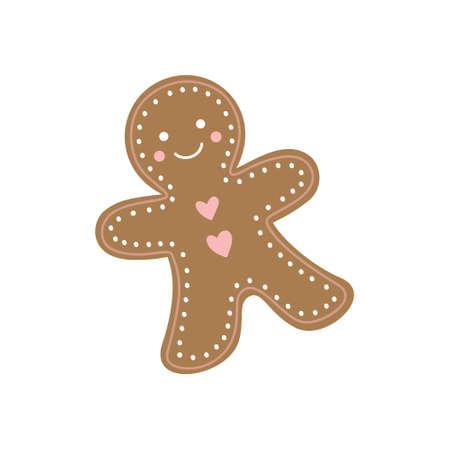 Cute gingerbread man cookie vector hand drawing