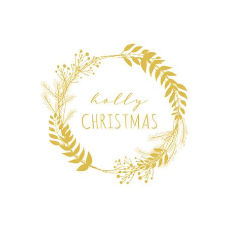 Holly Christmas floral gold wreath vector frame