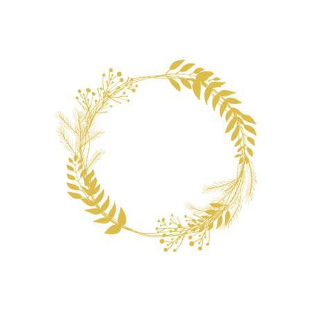 Christmas floral gold wreath vector round frame 向量圖像