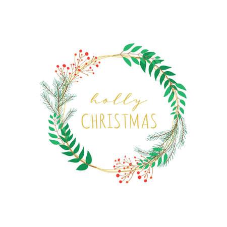 Holly Christmas floral wreath vector round frame