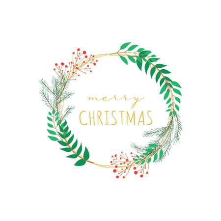 Merry Christmas floral branch wreath vector frame